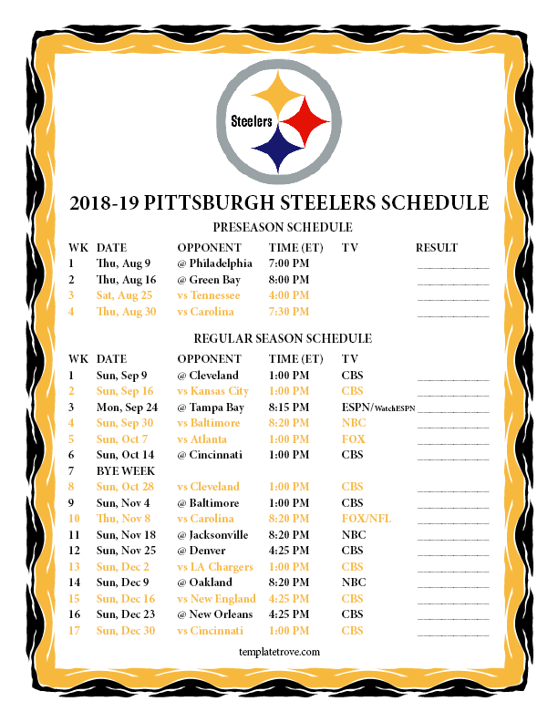 Printable 2018 2019 Pittsburgh Steelers Schedule