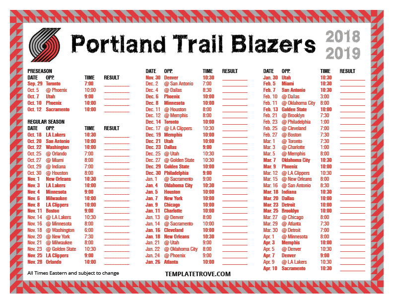 photo about Utah Jazz Schedule Printable referred to as Printable 2018-2019 Portland Path Blazers Plan