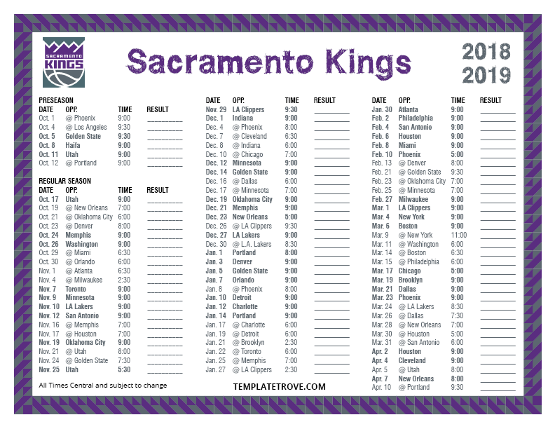 photo about Golden State Warriors Printable Schedule named Printable 2018-2019 Sacramento Kings Timetable