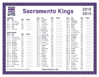 Sacramento Kings 2018-19 Printable Schedule - Pacific Times