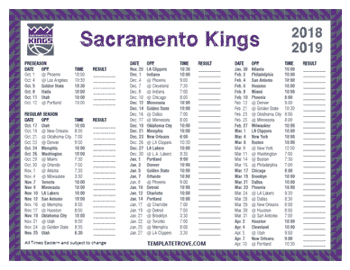 Sacramento Kings 2018-19 Printable Schedule