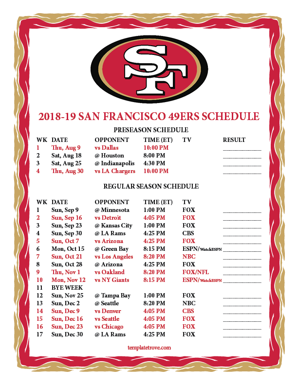 photo relating to Sf Giants Printable Schedule identify Printable 2018-2019 San Francisco 49ers Timetable