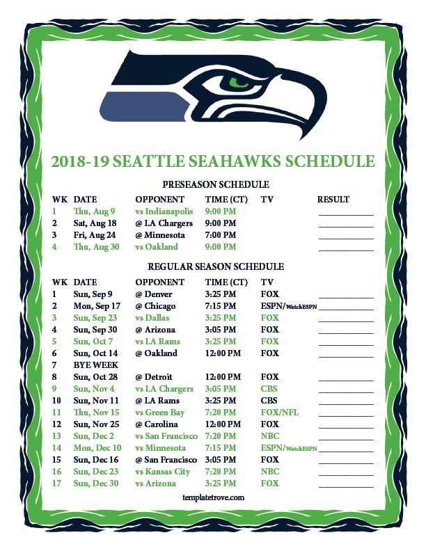 Seahawks Schedule Preseason 2019 Printable 2018 2019 Seattle Seahawks Schedule