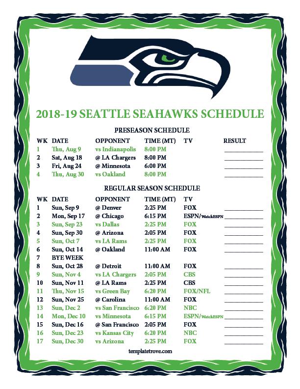 Top 5 Seahawks Schedule 2019 Printable