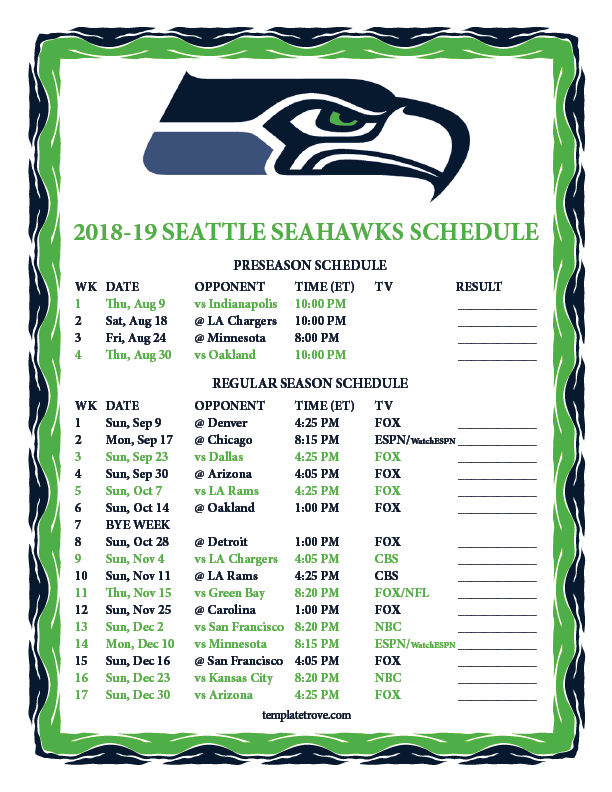 Printable 2018 2019 Seattle Seahawks Schedule