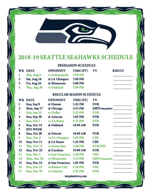 Seattle Seahawks 2018-19 Printable Schedule - Pacific Times