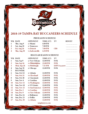 Tampa Bay Buccaneers 2018-19 Printable Schedule - Central Times