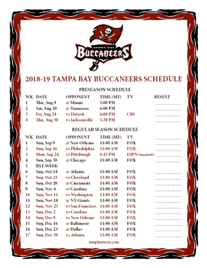 Tampa Bay Buccaneers 2018-19 Printable Schedule - Mountain Times