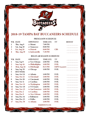 Tampa Bay Buccaneers 2018-19 Printable Schedule