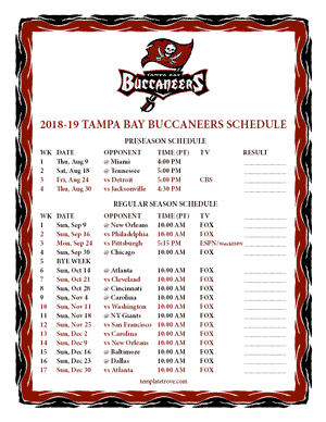 Tampa Bay Buccaneers 2018-19 Printable Schedule - Pacific Times