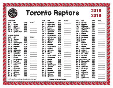 Printable 2018-2019 Toronto Raptors Schedule