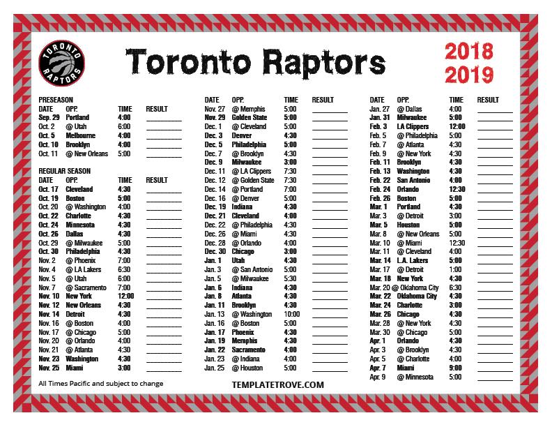 Printable 2018-2019 Toronto Raptors Schedule