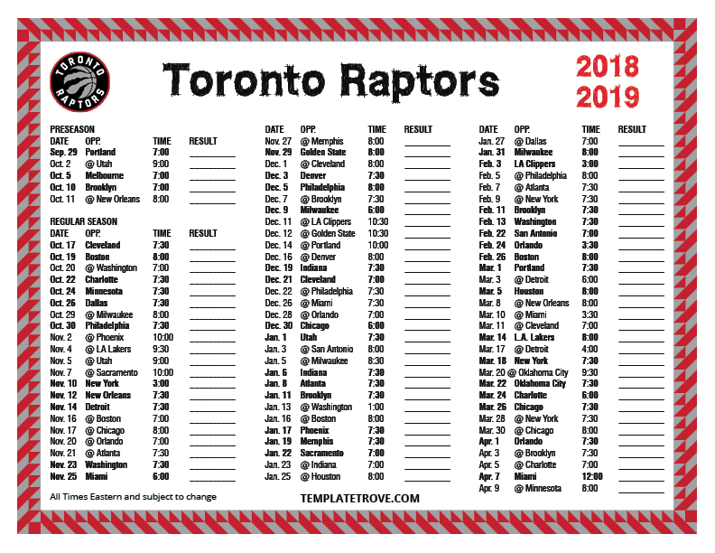 picture regarding 76ers Printable Schedule known as Printable 2018-2019 Toronto Raptors Program