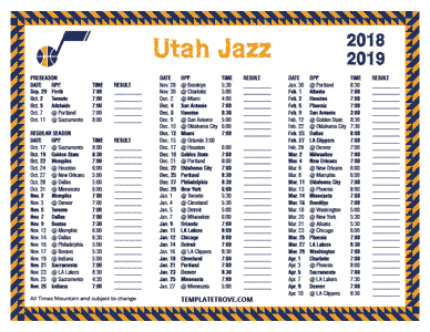 Printable 2018 2019 Utah Jazz Schedule