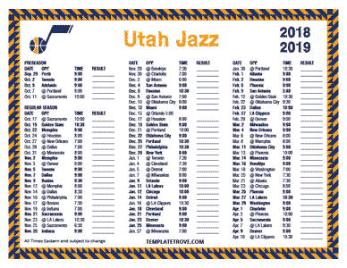 2018-2019-Printable-Utah-Jazz-Schedule-TN Free Printable Template For Pre Newsletter on word family newsletter templates, free printable newsletter layouts, free downloadable newsletter templates, free editable newsletter templates,