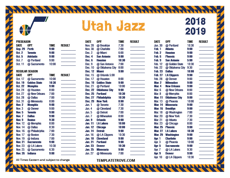 image relating to Printable Schedule identify Printable 2018-2019 Utah Jazz Agenda