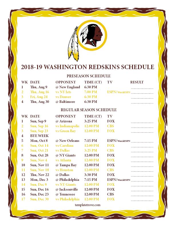 Printable 2018-2019 Washington Redskins Schedule