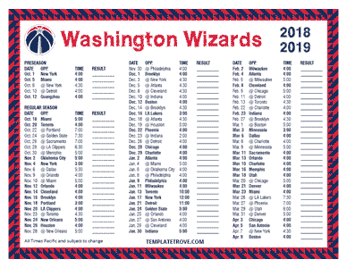 Washington Wizards 2018-19 Printable Schedule - Pacific Times