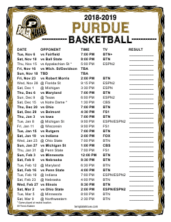 2018-2019 Purdue Boilermakers Basketball Schedule