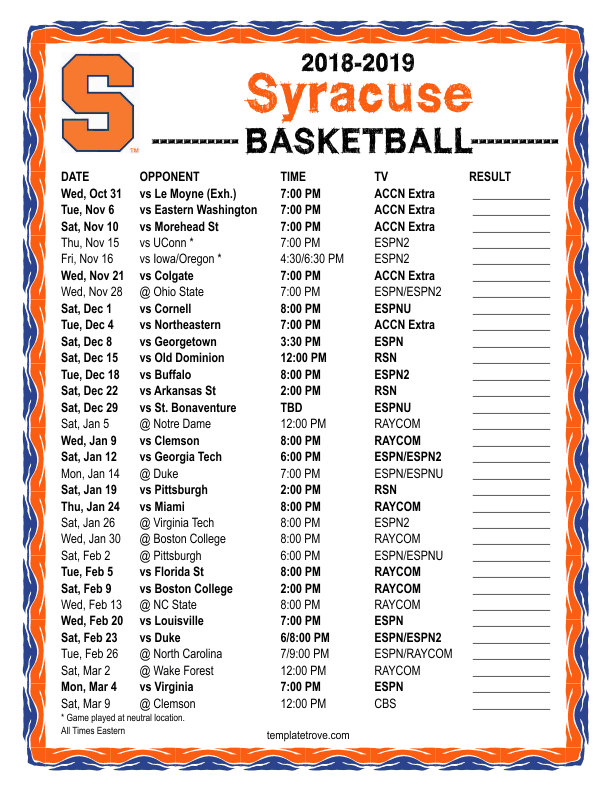 Printable 2018 2019 Syracuse Orange Basketball Schedule