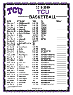 2018-2019 TCU Horned Frogs Basketball Schedule