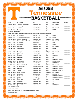 2018-2019 Tennessee Volunteers Basketball Schedule