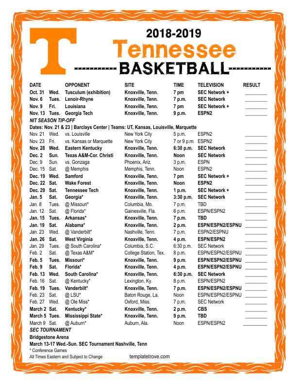 graphic about Ku Basketball Schedule Printable identified as Berita Hari Ini: tennessee mens basketball timetable 2018-19