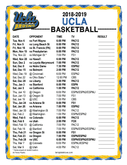 2018-2019 UCLA Bruins Basketball Schedule