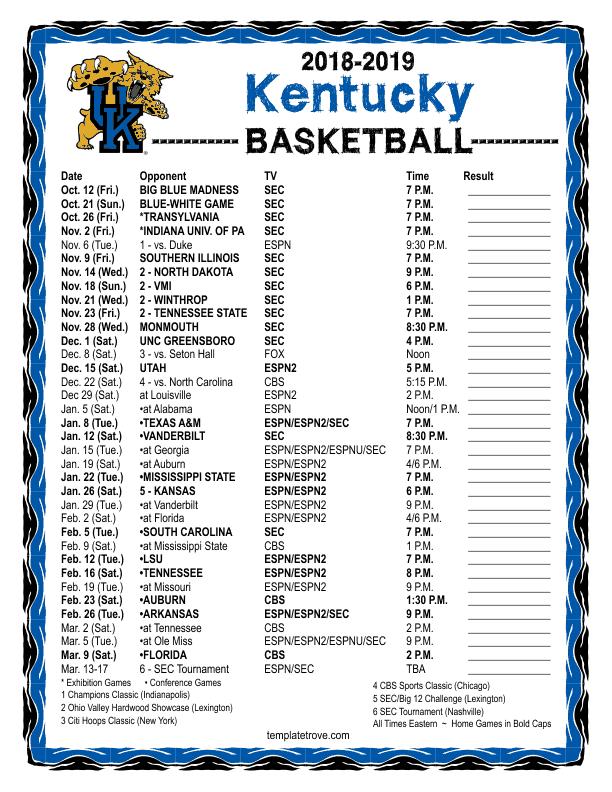 picture regarding Printable Kentucky Basketball Schedule named Printable 2018-2019 Kentucky Wildcats Basketball Routine