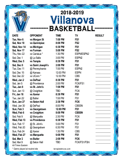 2018-2019 Villanova Wildcats Basketball Schedule