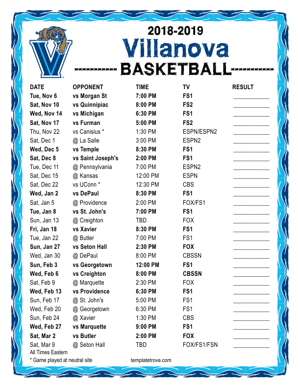 Villanova Calendar 2019 Printable 2018 2019 Villanova Wildcats Basketball Schedule