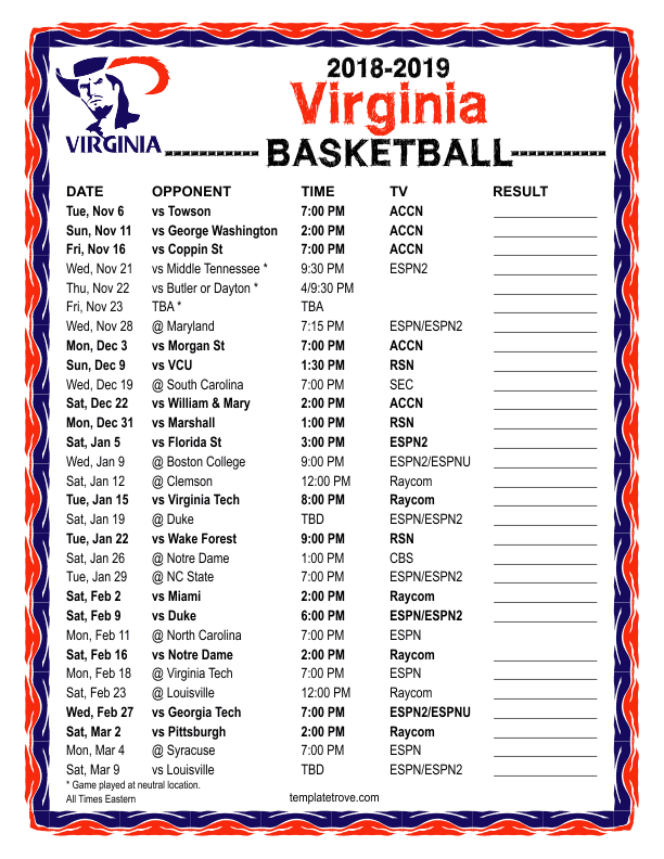photograph relating to Cavs Printable Schedule named Printable 2018-2019 Virginia Cavaliers Basketball Routine