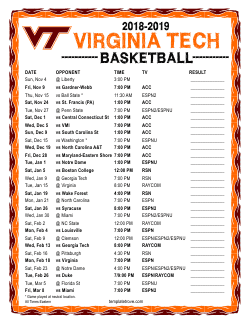2018-2019 Virginia Tech Hokies Basketball Schedule