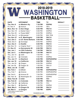 2018-2019 Washington Huskies Basketball Schedule