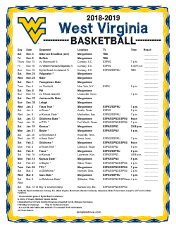 2018-2019 West Virginia Mountaineers Basketball Schedule