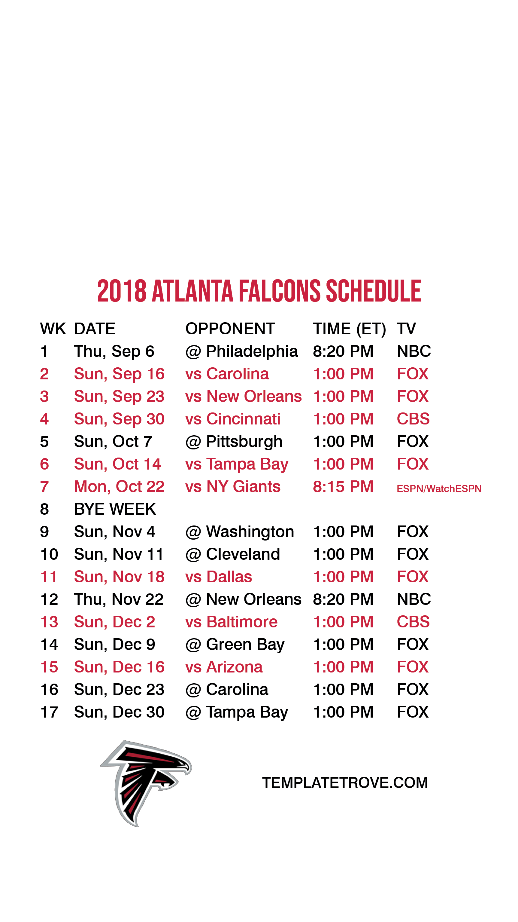 2018-2019 atlanta falcons lock screen schedule for iphone 6-7-8 plus