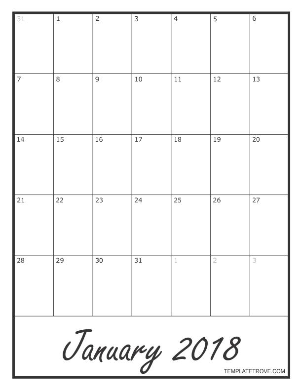 blank monthly calander