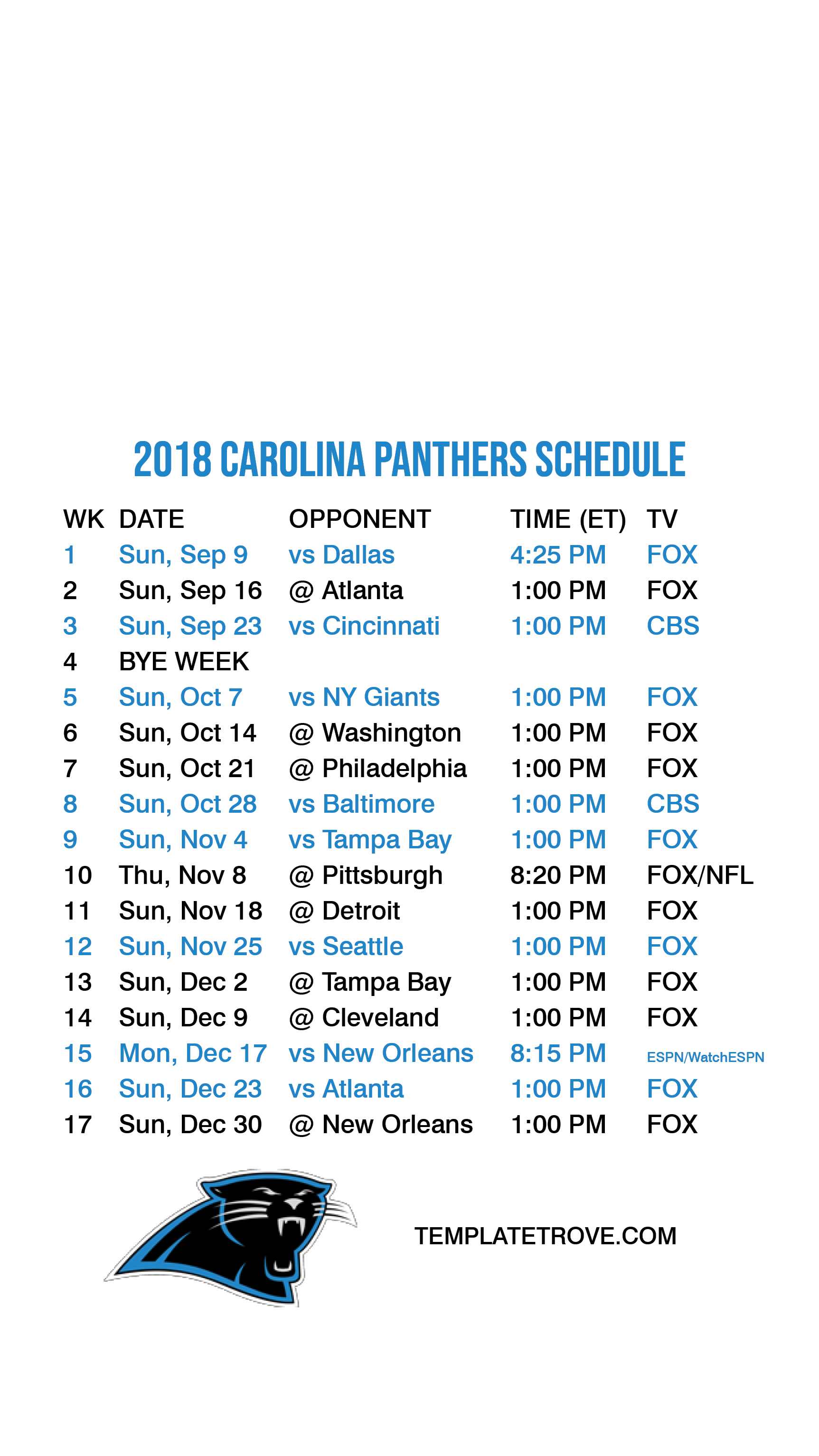 2018 2019 Carolina Panthers Lock Screen Schedule For Iphone 6 7 8 Plus