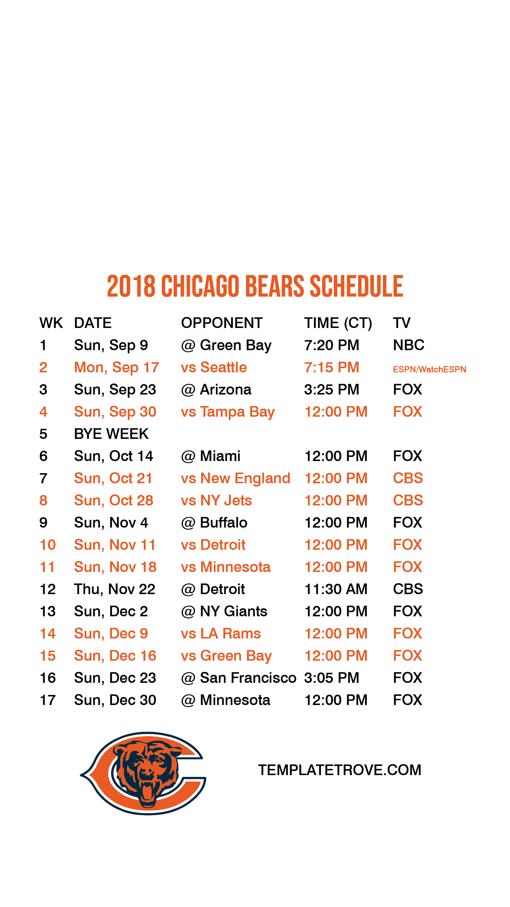 photograph regarding Printable Bears Schedule referred to as 2018-2019 Chicago Bears Lock Display Program for apple iphone 6-7