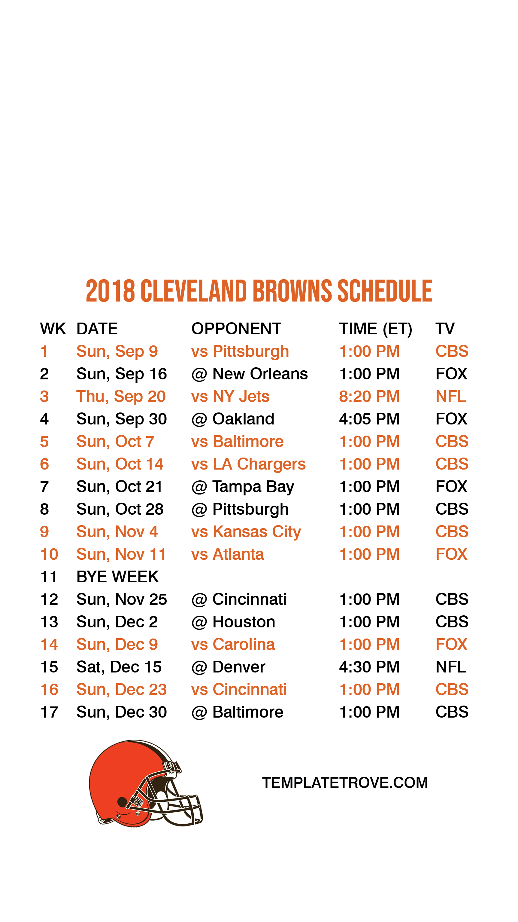 photograph about Cleveland Browns Printable Schedule called 2018-2019 Cleveland Browns Lock Display Routine for apple iphone 6