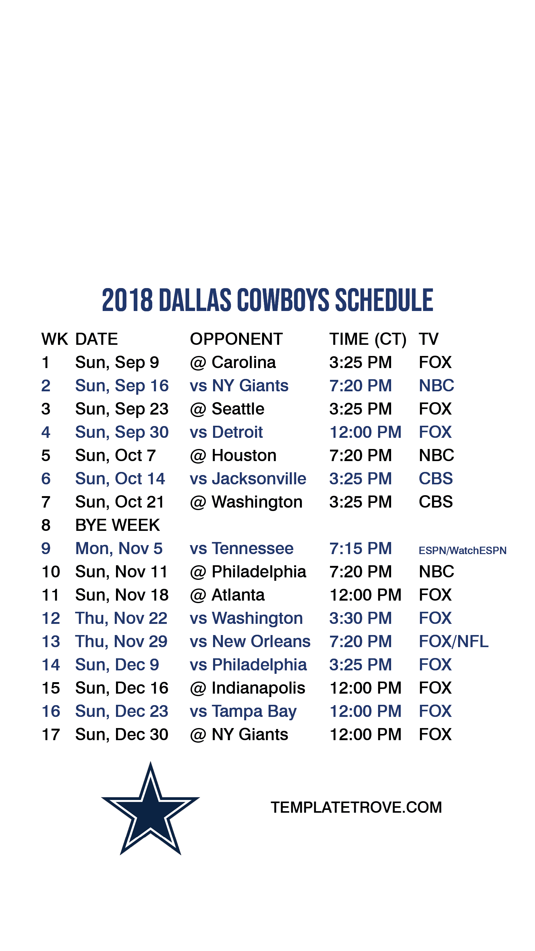 Dallas Cowboys 2020 Schedule.Dallas Cowboys 2020 2019 Printable Schedule Schedule 2020