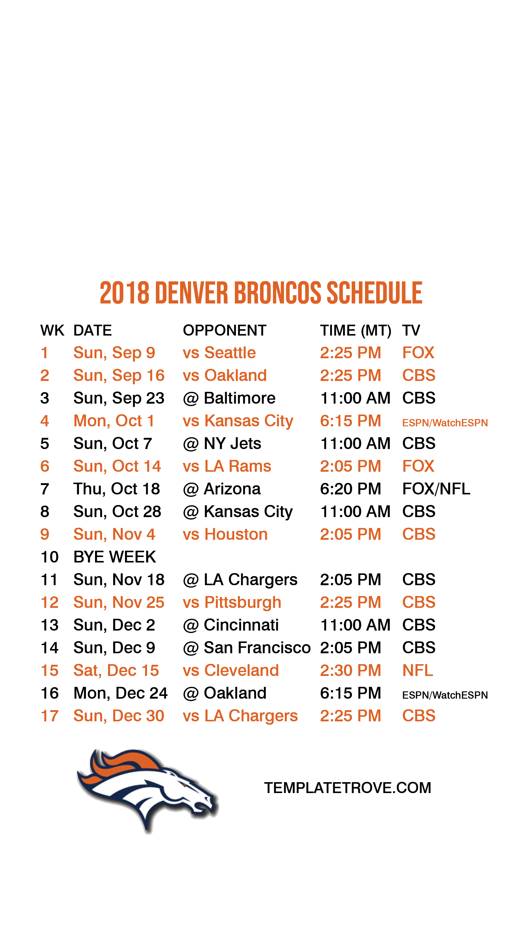 graphic about Denver Broncos Schedule Printable titled denver broncos agenda 2018 19