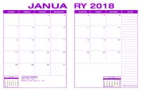2018 Desk Calendar - Purple