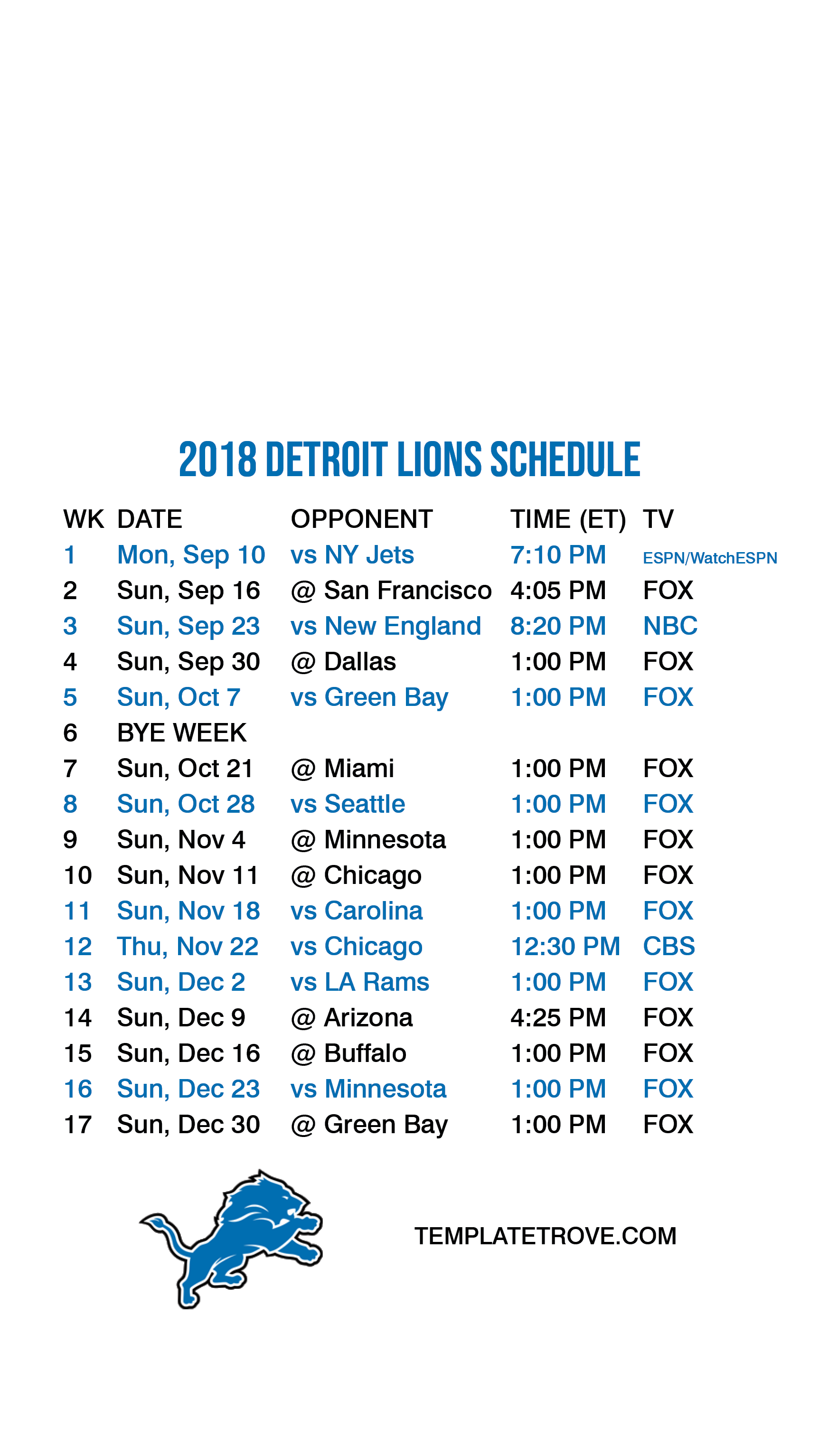 20182019 detroit lions lock screen schedule for iphone 6