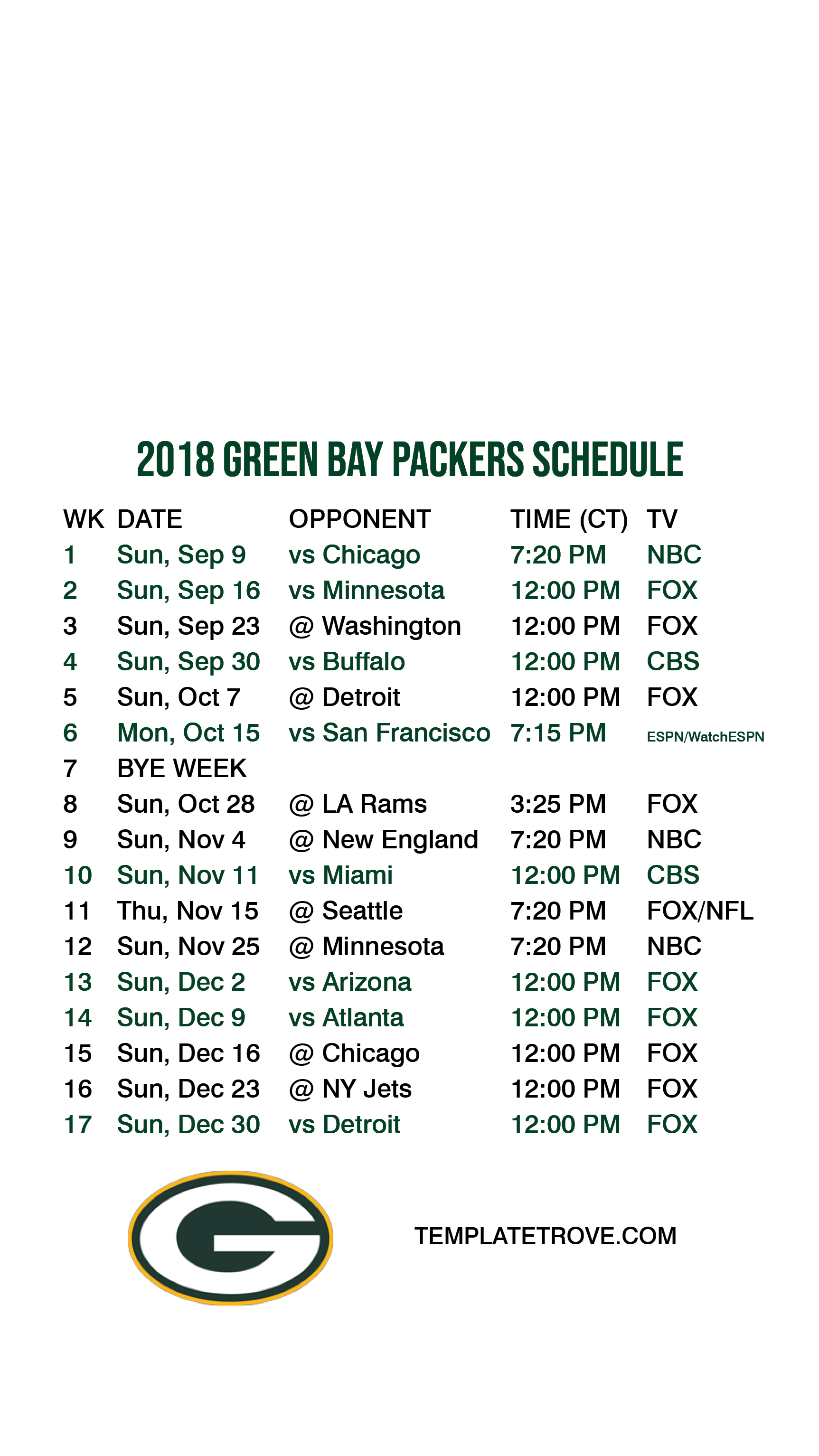 2018 2019 Green Bay Packers Lock Screen Schedule For Iphone 6 7 8 Plus