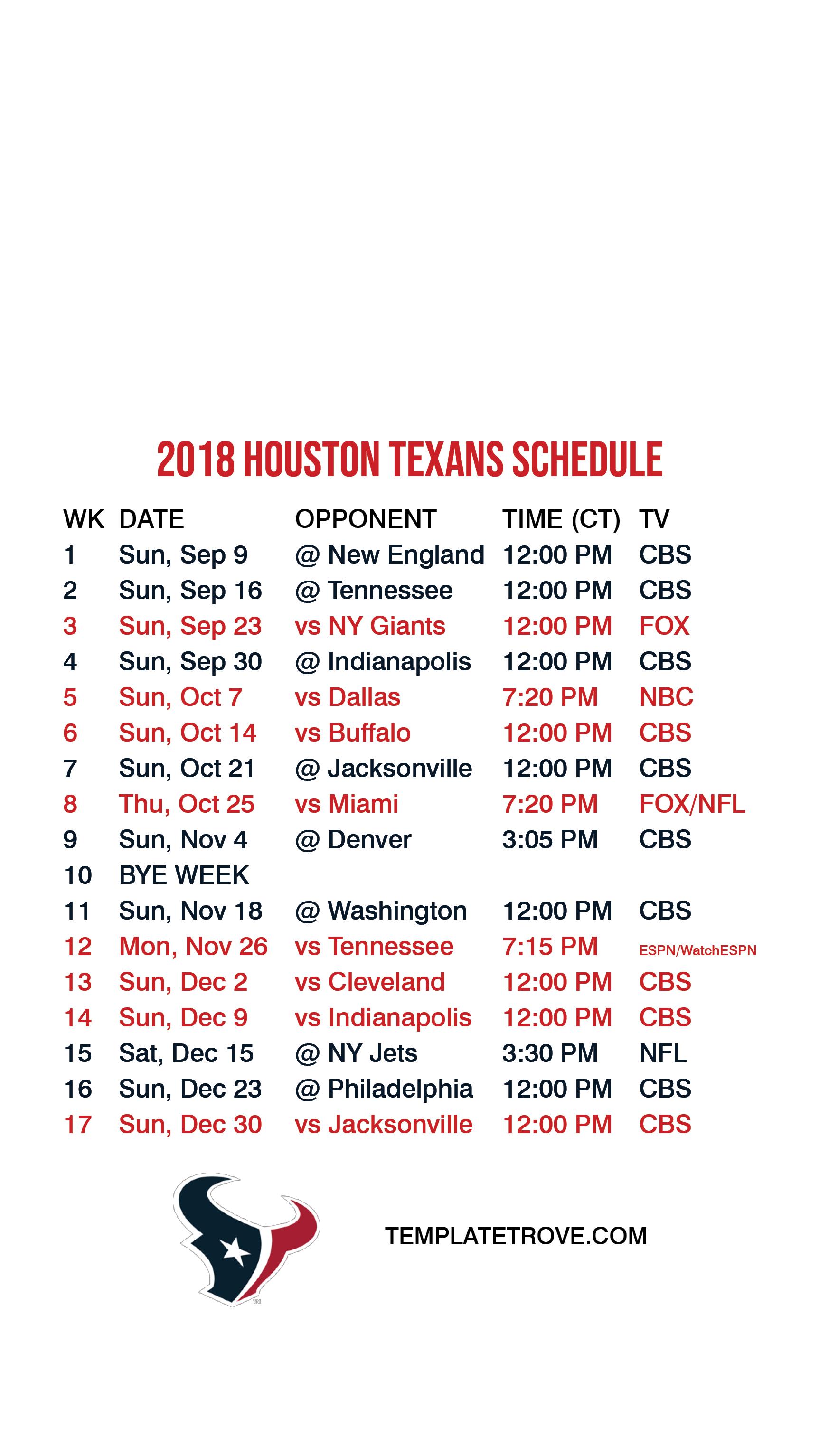 2018 2019 Houston Texans Lock Screen Schedule For Iphone 6 7