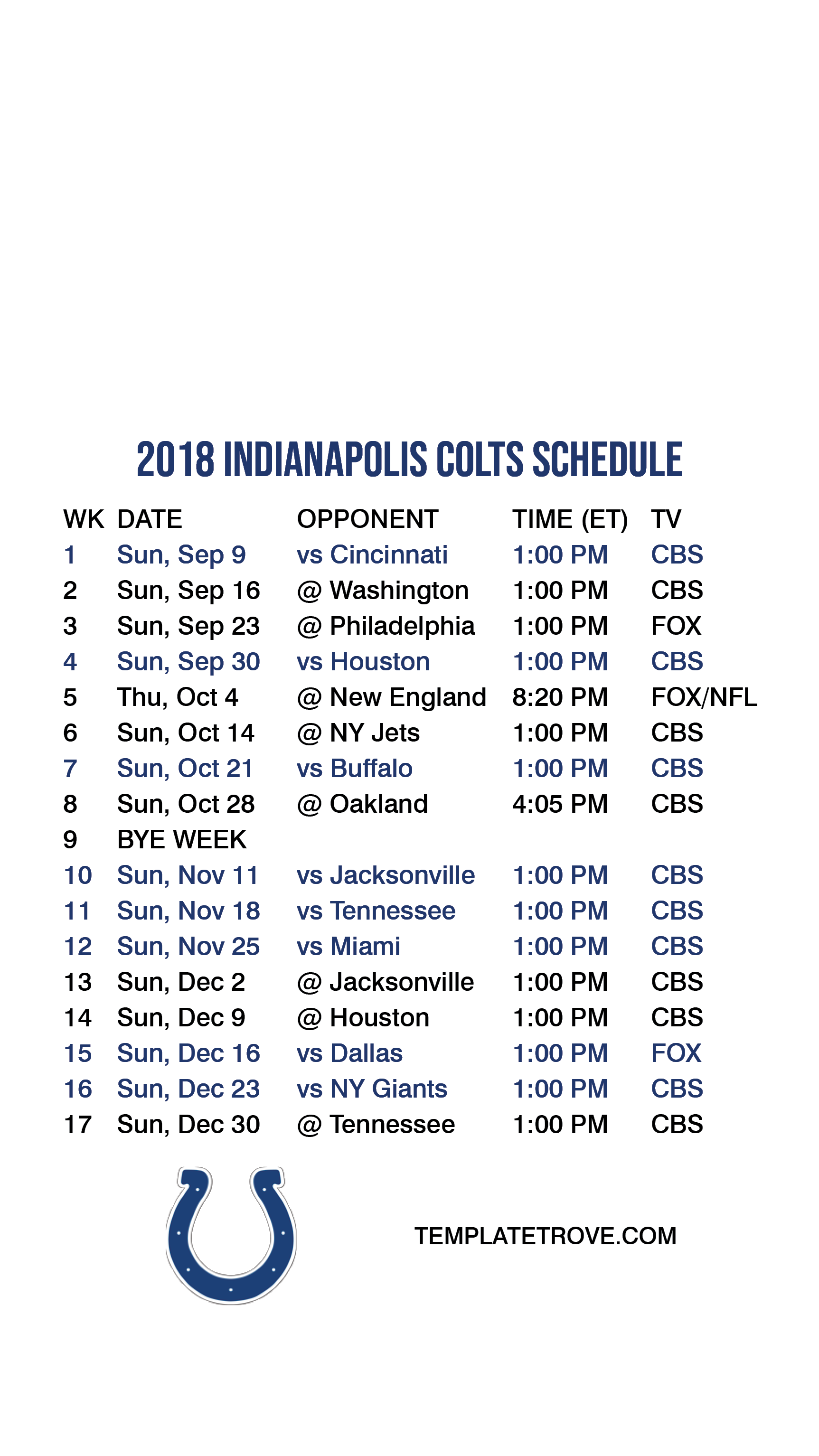 graphic regarding Colts Schedule Printable known as 2018-2019 Indianapolis Colts Lock Display Timetable for apple iphone