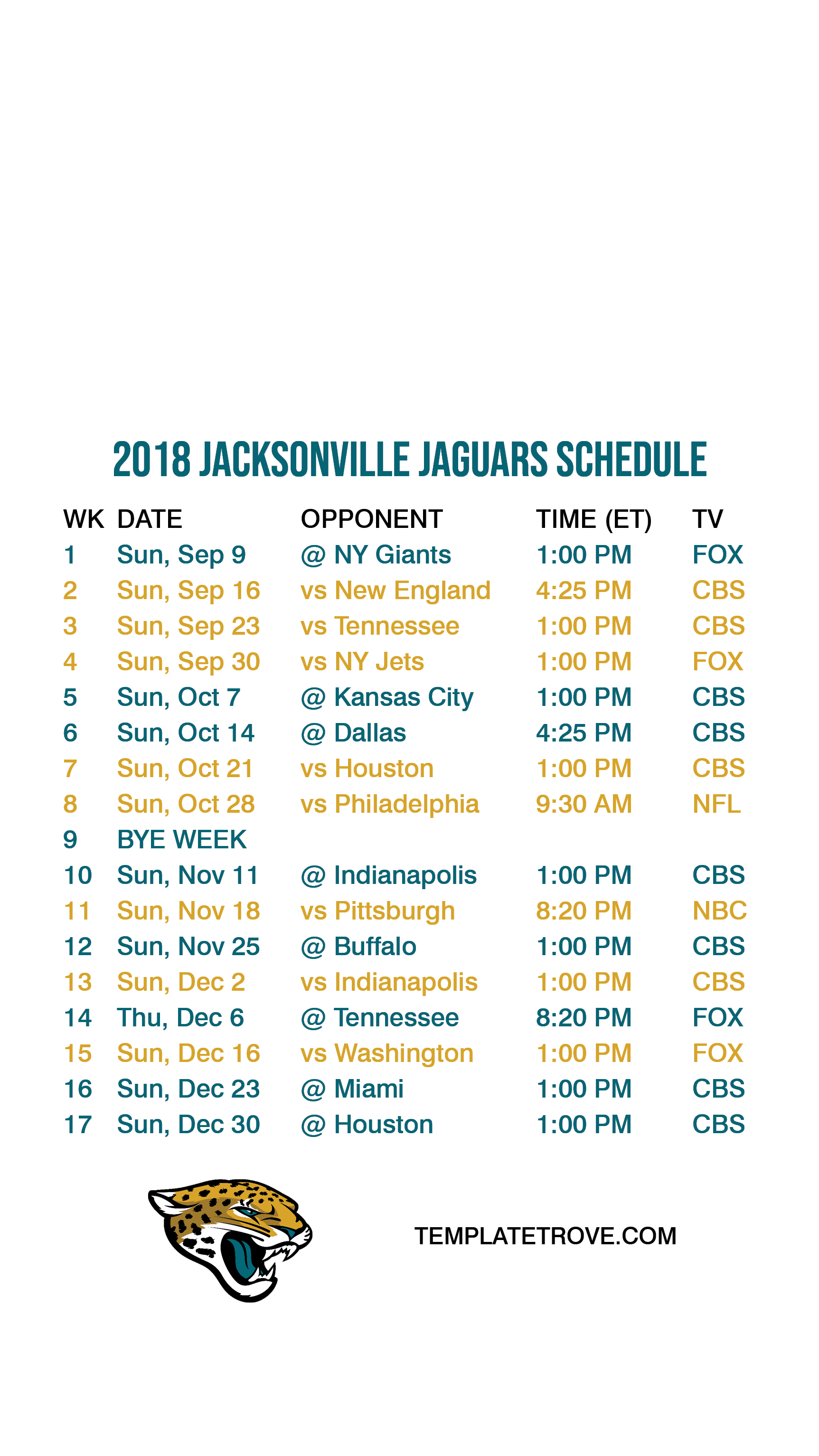 2018-Jacksonville-Jaguars-Lock-Screen-Schedule-iPhone-6-7-8-Plus Team Newsletter Template on classroom weekly, one page, free printable monthly, microsoft publisher, christmas family,