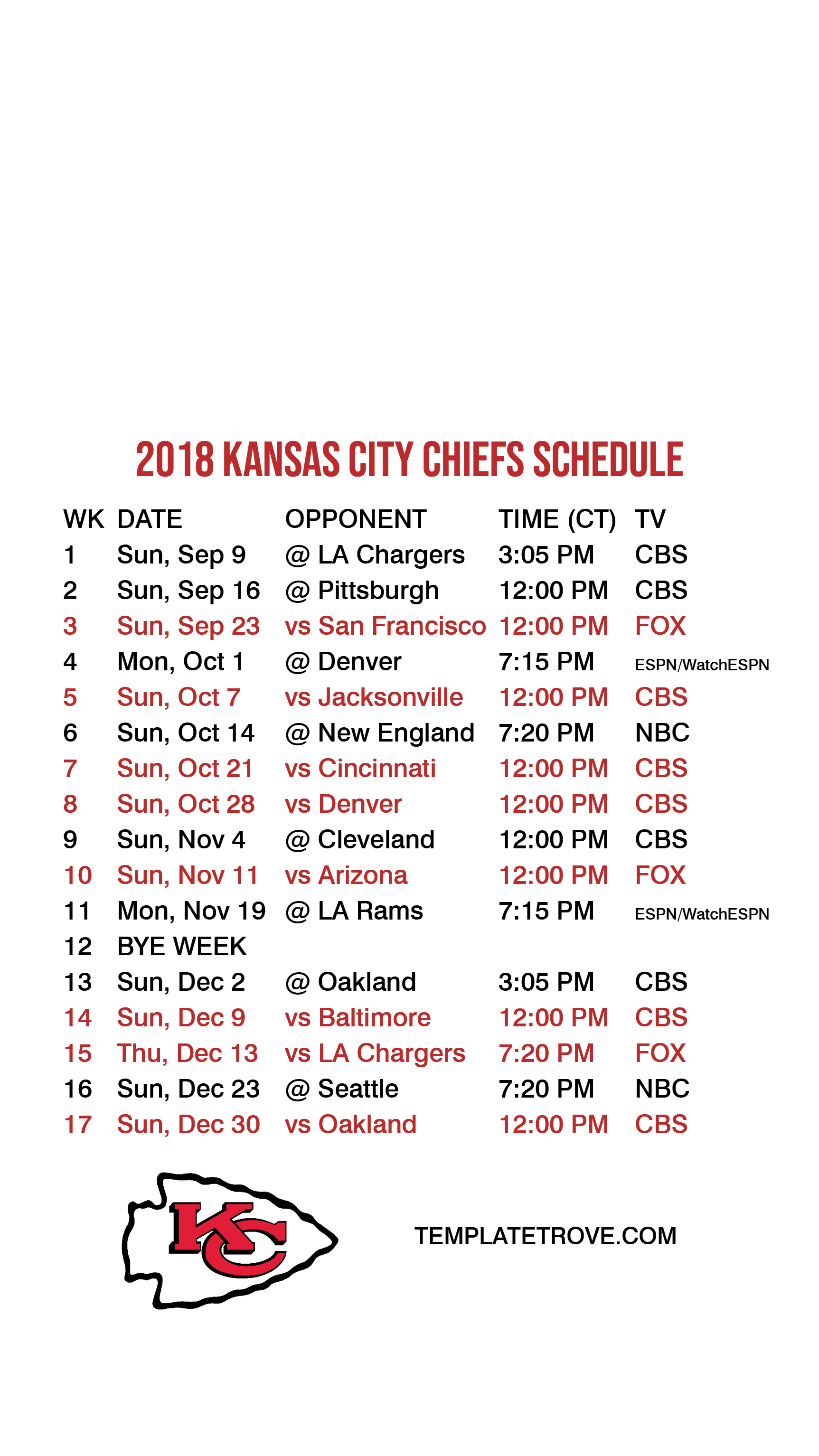 This is an image of Current Kansas City Chiefs Printable Schedule