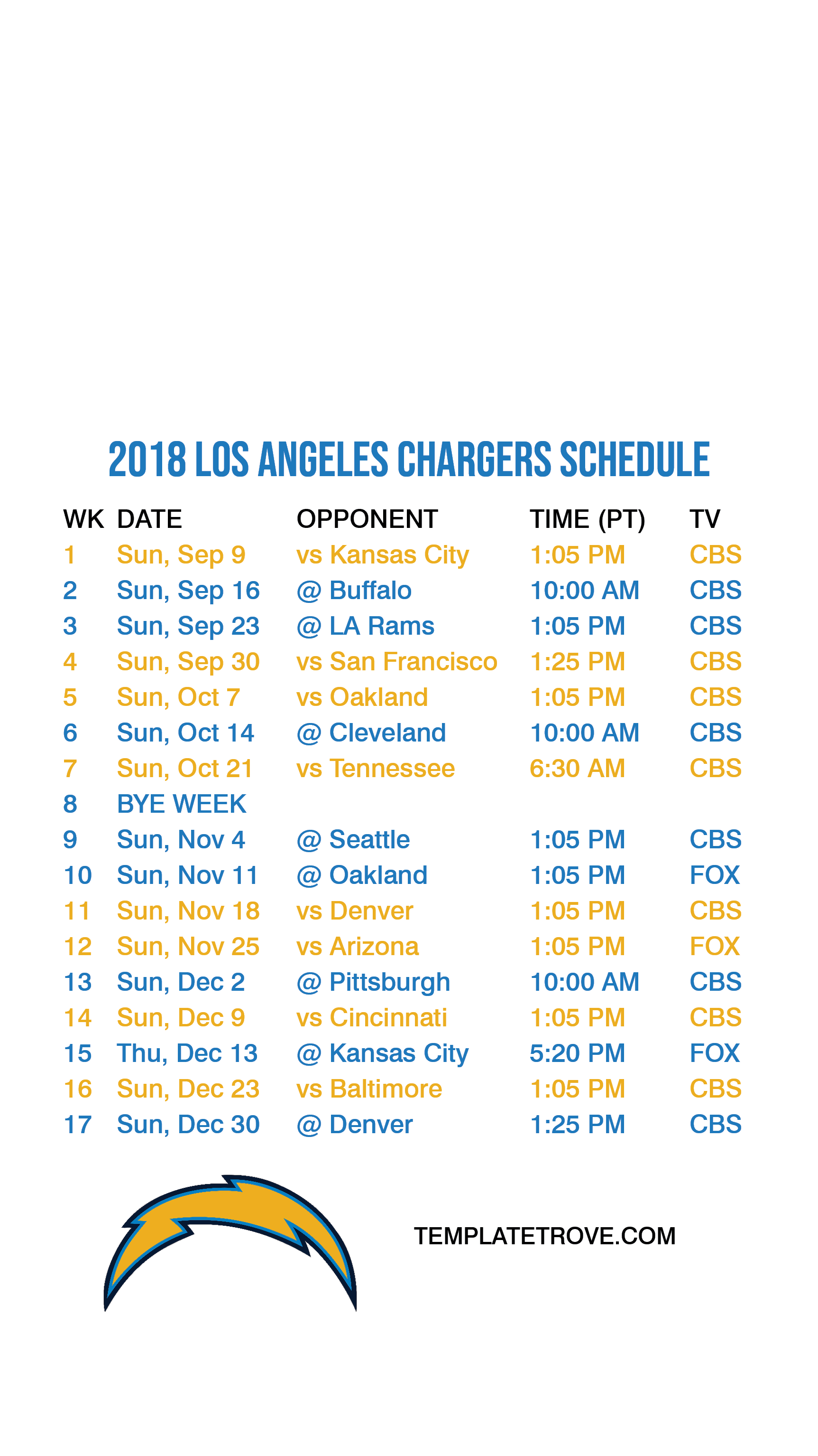 2018-2019 Los Angeles Chargers Lock Screen Schedule for